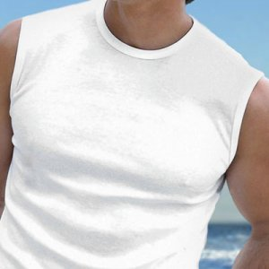 Falocco Collection Montauk Sleeveless Muscle Top T Shirt White
