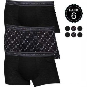 Marginal [6 Pack] Assorted Boxer Brief Underwear Black & Printed T011-2