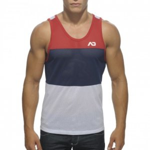 Addicted 3 Colours Mesh Low Rider Tank Top T Shirt Red/White/Navy AD342