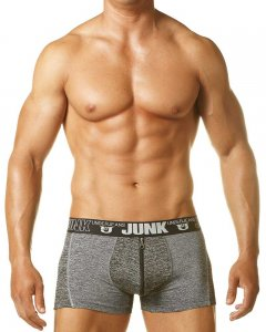 Junk Underjeans Sweat Zip Fly Boxer Brief Underwear Grey/Black MB20010