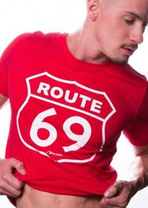 Ajaxx63 Route 69 Falcon Studios Short Sleeved T Shirt Red RF...