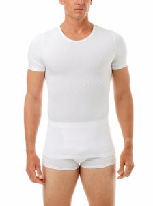 Underworks Shapewear Ultra Light Compression Cotton Spandex Short Sleeved T Shirt White 598100