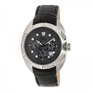 Reign Ronan Automatic Leather-Band Watch w/Day/Date - Black/Silver/Charcoal REIRN3403