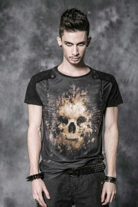 Punk Rave Skull Short Sleeved T Shirt Black T-330