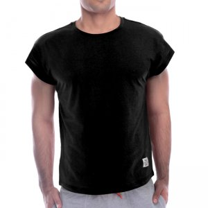 Private Structure Cropped Sleeve Casual Short Sleeved T Shirt Black 99-MT-1666