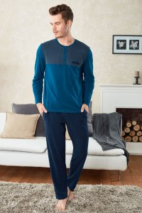 Doreanse Pocket Jeans Henley Long Sleeved T Shirt & Pants Set Loungewear Petrol 4258