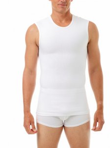 Underworks Shapewear Cotton Concealer Compression Muscle Top T Shirt White 974100