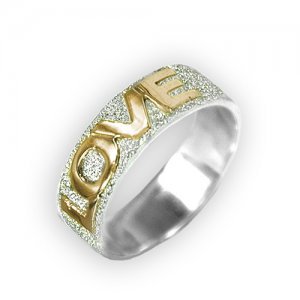 Personalized Men's Jewelry Personalized 14K Gold & Sparkling Silver Name Ring 101-14-213-02
