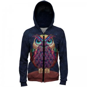 Mr. Gugu & Miss Go Space Owl Unisex Zip Up Hoodie H-PC735