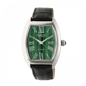 Heritor Automatic Baron Marbled-Dial Leather-Band Watch - Si...