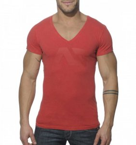Addicted Vintage V Neck Short Sleeved T Shirt Red AD214