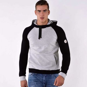 Roberto Lucca Sporty Hooded Long Sleeved Sweater Melange Gre...