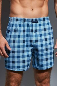Cornette Comfort Checker 002/121 Loose Boxer Shorts Underwear Blue