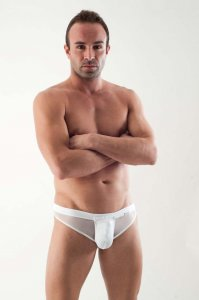 Geronimo Detachable Pouch Mesh Thong Underwear White 1361S9
