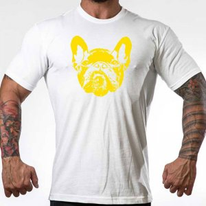 Bullywear Dog Face Short Sleeved T Shirt White/Yellow DYC