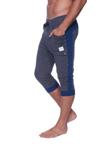 4-rth Cuffed Yoga 3/4 Pants Charcoal//Royal Blue