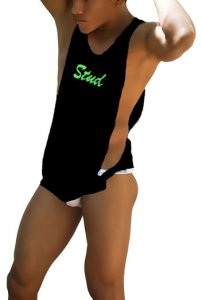 Icker Sea Stud Large Armhole Tank Top T Shirt Black/Green CA-16-ST-55