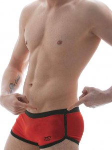 Good Boy Gone Bad Rolo Square Cut Trunk Swimwear Red/Black