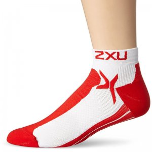 2XU Peformance Low Rise Socks White/Flame MQ1903E