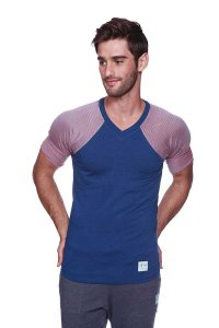 4-rth Raglan Virtual Crew Neck Stripe Short Sleeved T Shirt Royal Blue/Red/Grey