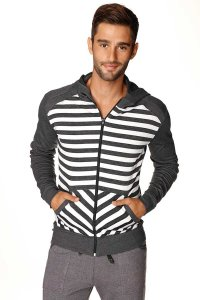 4-rth Crossover Fleece Striped Hoodie Long Sleeved Sweater Charcoal