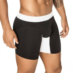PPU Splash Contrast Long Leg Boxer Brief Underwear Black/White 1408