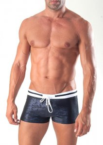 Geronimo Square Cut Trunk Swimwear Black 1515B1-1