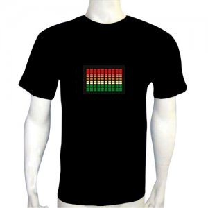 LED Electro Luminescence Great Tune Frequency Funny Gadgets Rave Party Disco Light T Shirt 12320