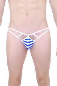 Petit-Q Passy Cut Out Sailor G String Underwear White/Blue PQ161068