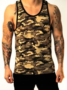 Whittall & Shon Camouflage Tank Top T Shirt Sand 306