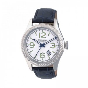 Heritor Automatic Barnes Leather-Band Watch w/Date - Silver/...