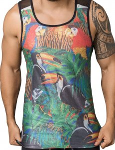 Clever Toucan Tank Top T Shirt Black 7028