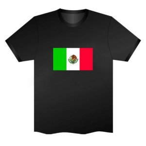 LED Electro Luminescence Mexican Flag Funny Gadgets Rave Party Disco Light T Shirt Black 31792