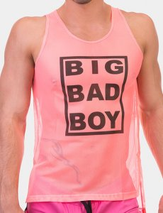 Barcode Berlin Big Bad Boy Neon Mesh Tank Top T Shirt Pink/Black 91610-3103
