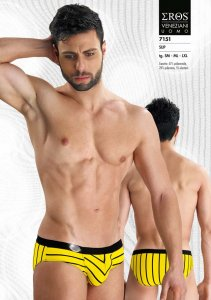 Eros Veneziani Stripe Slip Brief Underwear Yellow 7151