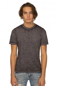 Royal Apparel Unisex Burnout Wash Short Sleeved T Shirt Heather Charcoal 17151BO