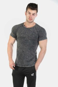 Jed North Haze Marble Vintage Short Sleeved T Shirt Black JNTOP025