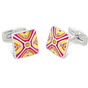 Duncan Walton Oxlow Cufflinks Pink/Orange C2814
