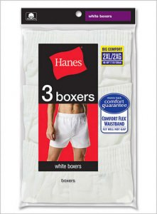 Hanes [6 Pack] Full Cut Loose Boxer Shorts Underwear White V-239B-6P