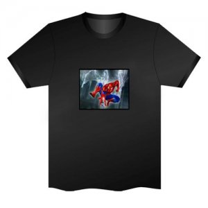 LED Electro Luminescence Spiderman Funny Gadgets Rave Party Disco Light T Shirt Black 31762