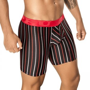 PPU Fiesta Stripe Long Leg Boxer Brief Underwear Black 1401