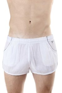 L'Homme Invisible Split Lounge Shorts White HW111-CLO-002