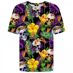 Mr. Gugu & Miss Go Skulls In Flowers Unisex Short Sleeved T Shirt TSH1078