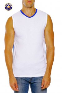 Go Softwear A J Complete Muscle Top T Shirt White/Royal 8754