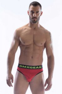DMXGEAR Anatomic Fit Luxury Cotton Thong Underwear Red/Black