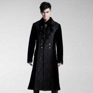 Punk Rave Aristocrat Contrast Long Coat Black Y-433