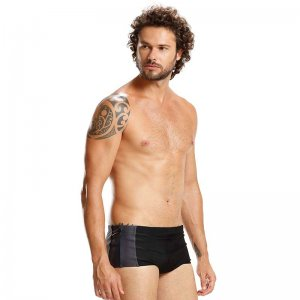 Mar Rio Scraps Sunga Square Cut Trunk Swimwear Black/Grey/Gr...