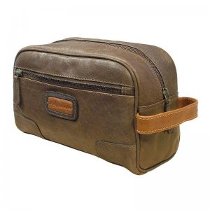 Asdrumark Compact Leather Wash Bag Brown/Cognac AM102
