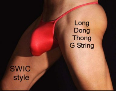 SWIC Well Endowed Cut Long Dong G String Underwear LDT