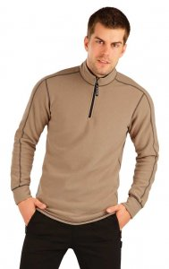 Litex Solid Stand Up Collar Zipper Neck Sweater Brown 90140